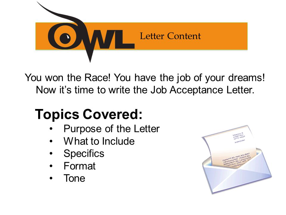 Crossing the Finish Line Writing a Job Acceptance Letter - ppt - acceptance letter for job