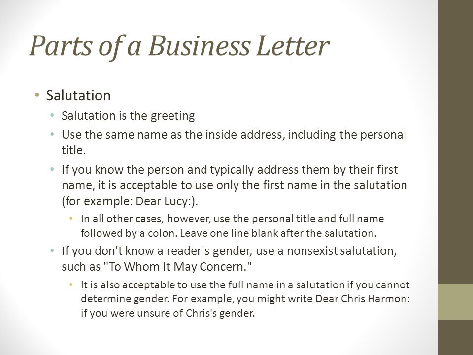 Writing the Basic Business Letter - ppt download - business letter salutation
