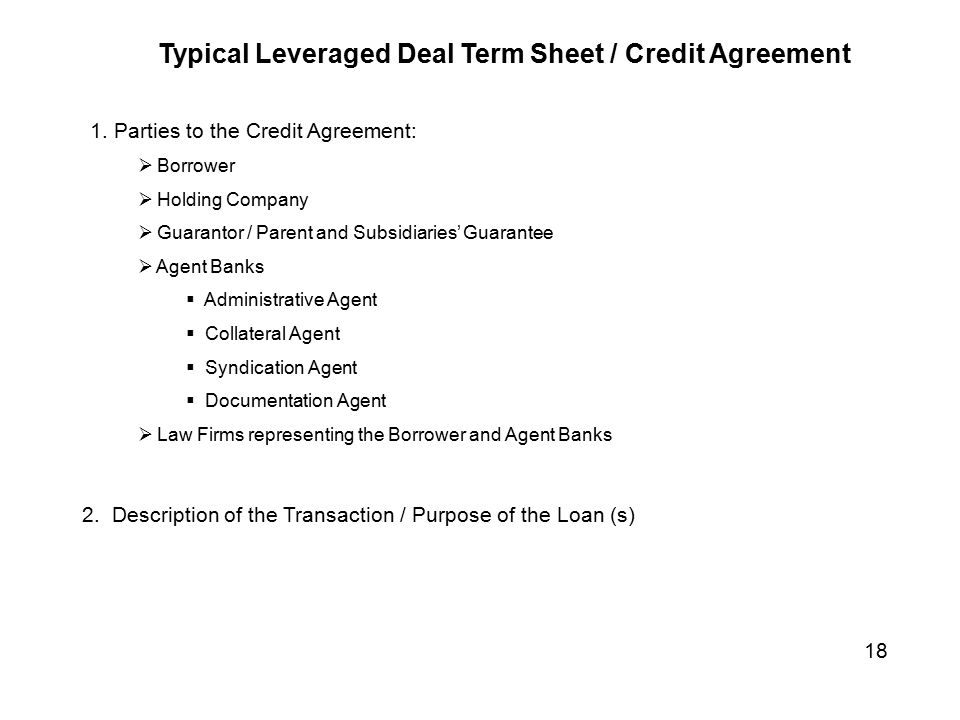 Looking at the Bank Loan Syndication Process - ppt video online - credit agreement