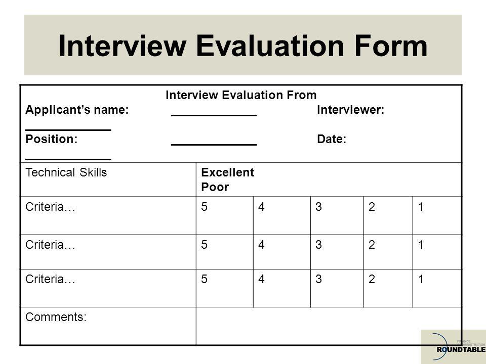 Technical Assessment Template Tender Evaluation Template Apigramcom - sample interview evaluation