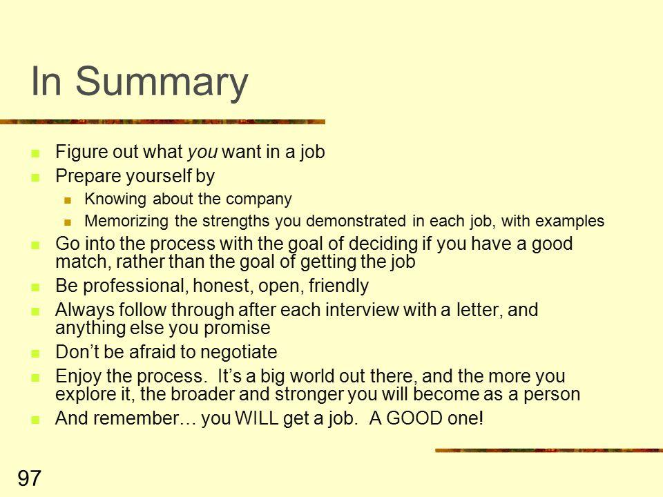 summary about yourself for a job - Onwebioinnovate - job summaries