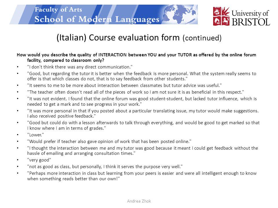 Course Evaluation Form Course Evaluation Form 1 Course Evaluation - class evaluation template