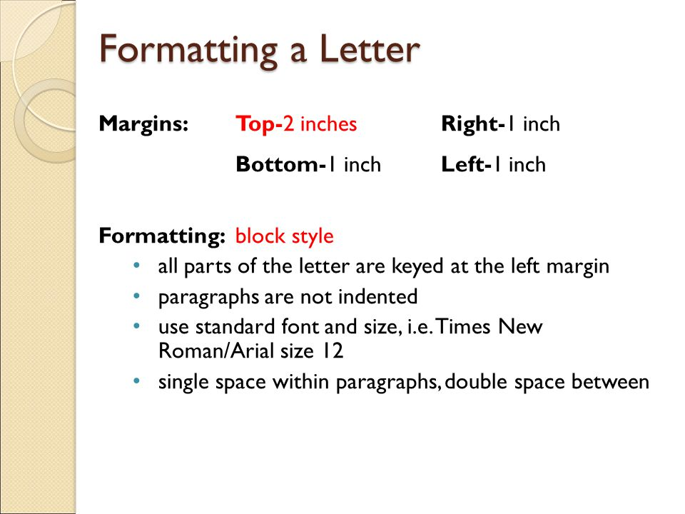 One Inch Margins In A Letter \u2013 Best Cars 2018