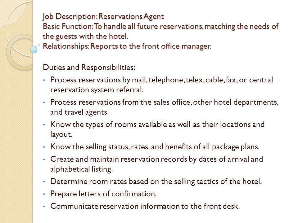 Hotel Front Office Job Description  CityEsporaCo