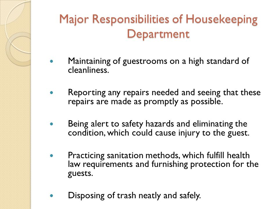 housekeeping responsibilities - Housekeeping Responsibilities