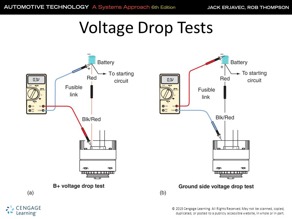 charging starting system circuit voltage drop testing reconit