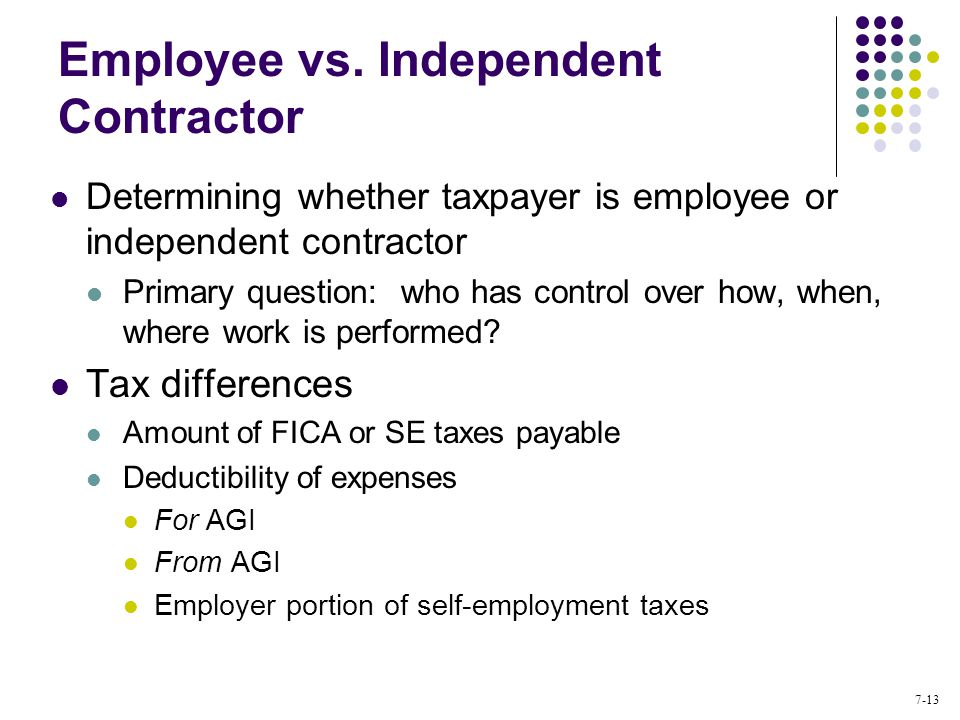 Individual Income Tax Computation and Tax Credits - ppt video - differences employee independent contractor