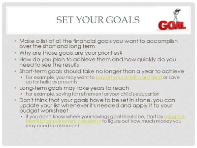 Creating a Budget This Module is designed to help students build a proper budget and encourage ...