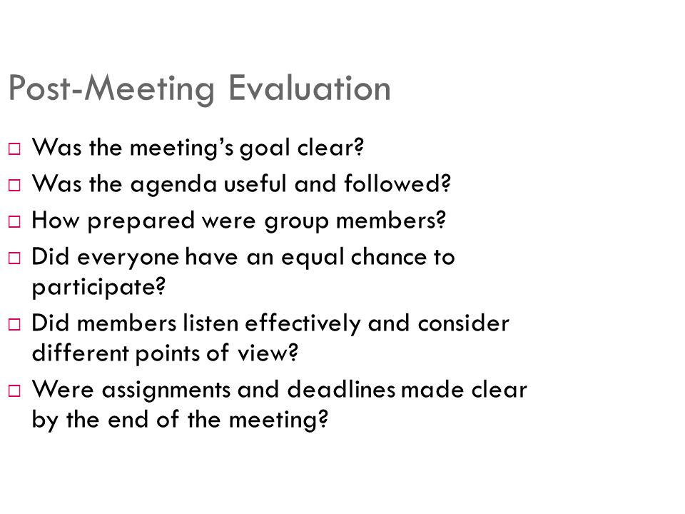 Effectively Facilitate Meeting Managing Effective Meetings Vito J