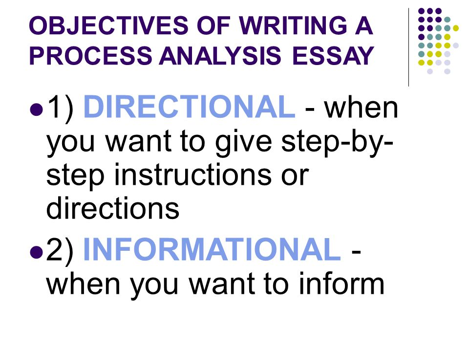 Directional process analysis essay topics Term paper Example