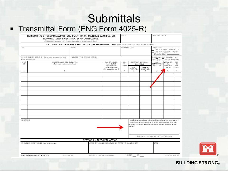 eng form 4025 - Bindrdnwaterefficiency - transmittal form