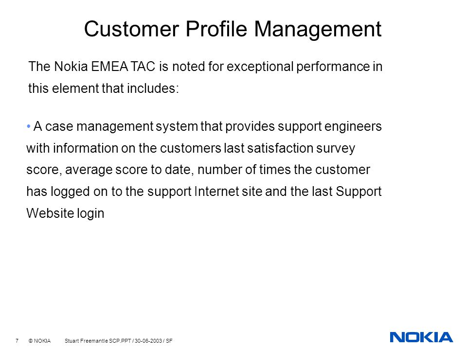 Technical Account Management  Customer Profile Management - ppt - customer profile