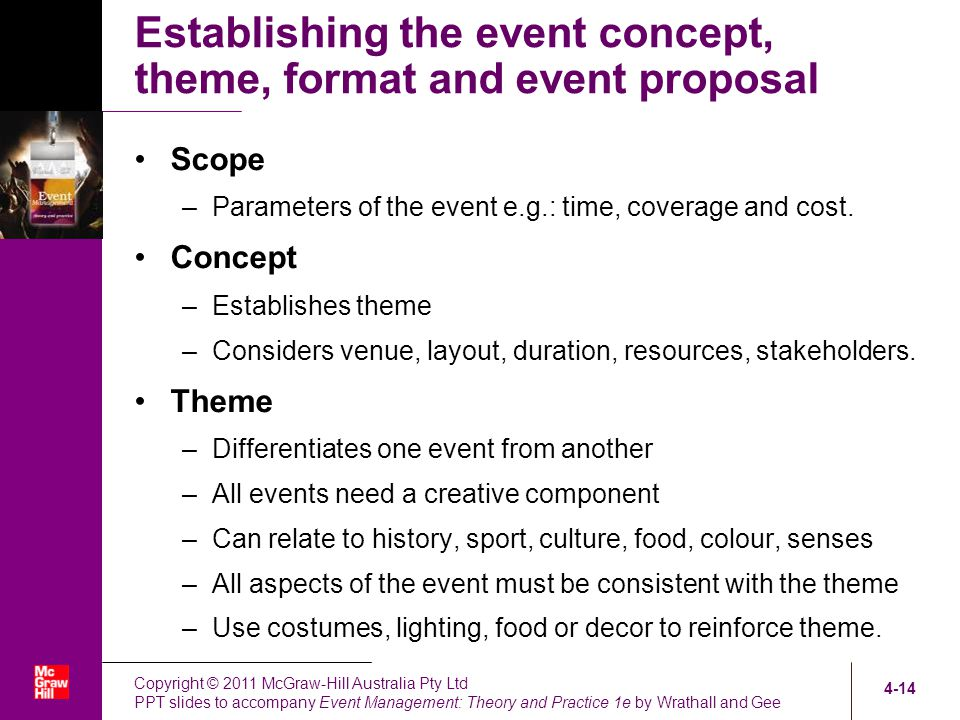 Developing an Event Concept - ppt video online download - Event Proposal Format