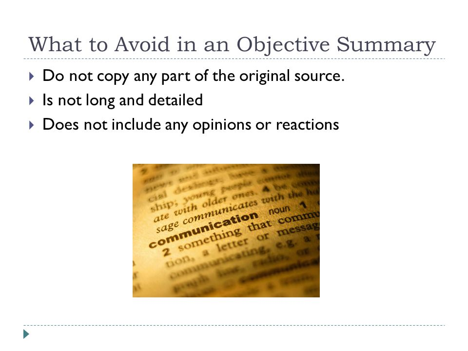 Writing an Objective Summary - ppt video online download - what is an objective summary