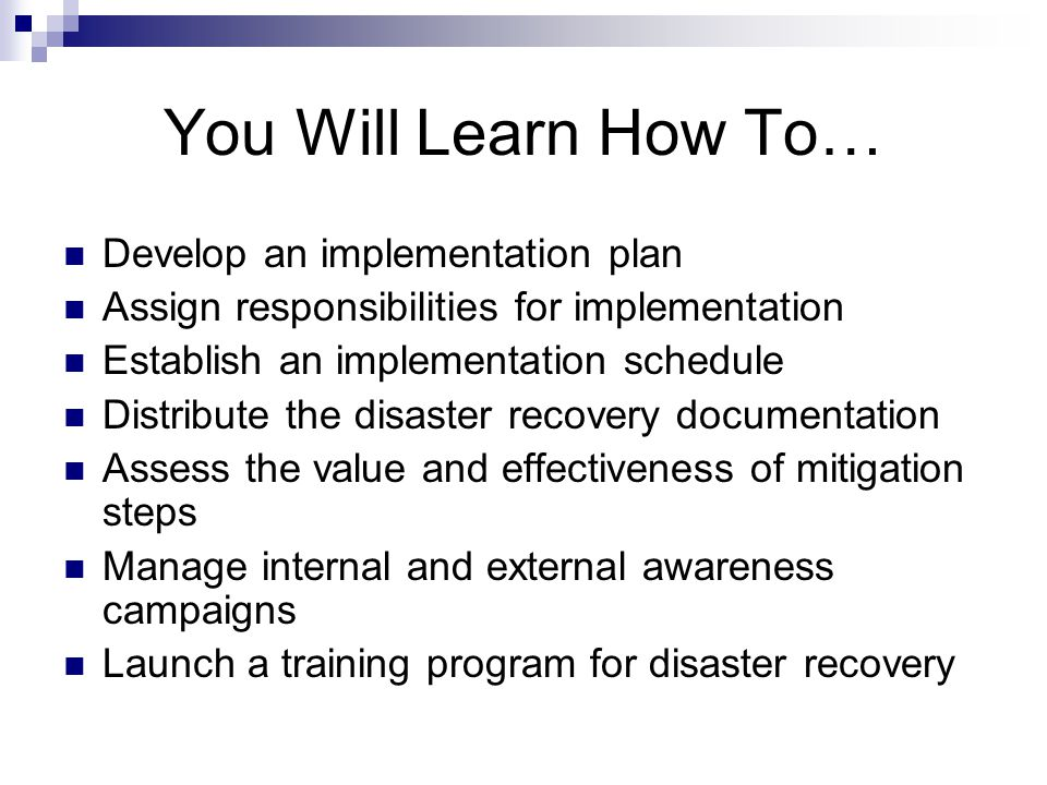 Implementing Disaster Recovery Plans - ppt video online download - recovery plans