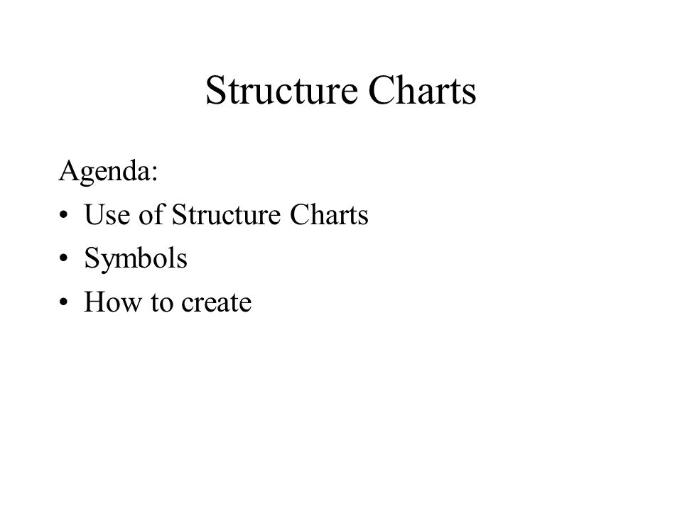 Structure Charts Agenda Use of Structure Charts Symbols How to - how to create a agenda