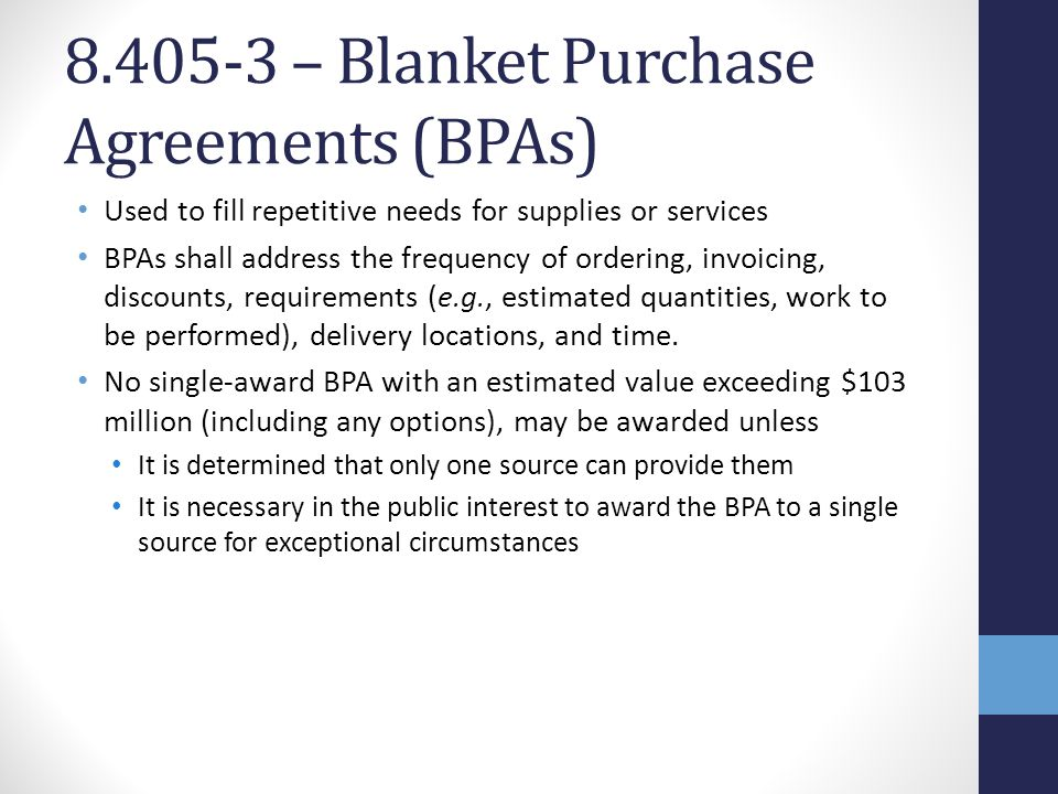 Required Sources of Supplies and Service - ppt video online download - blanket purchase agreement