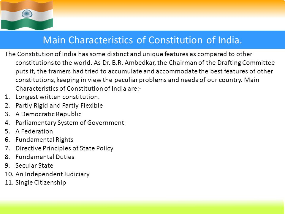 Indian Constitution Presented By Bibini Baby 2nd Yr Msc