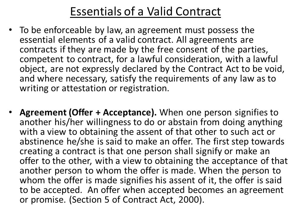 Three essential element of a valid simple contract Custom paper
