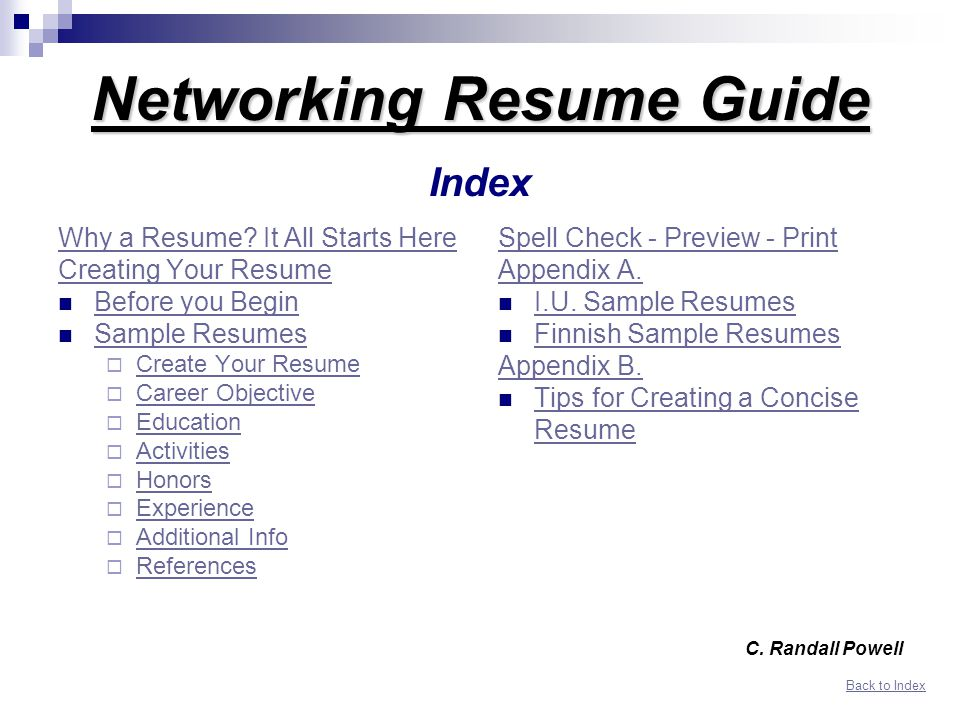 Networking Resume Guide Index - ppt download - Resume Guide