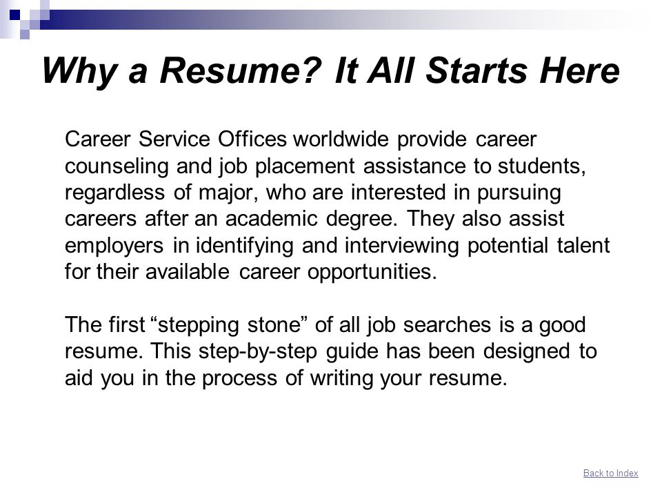 Networking Resume Guide Index - ppt download