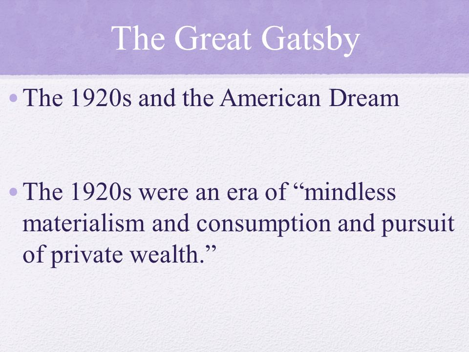 Old And New Reflected In The Great Gatsby Essay