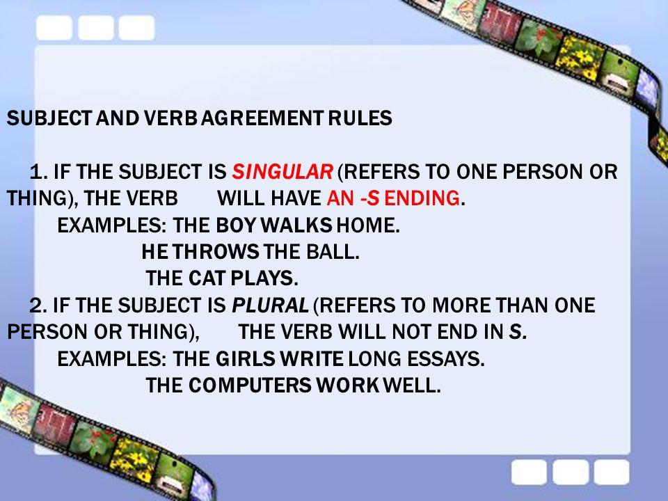 Ex Of Subject Verb Agreement Cvfreeo