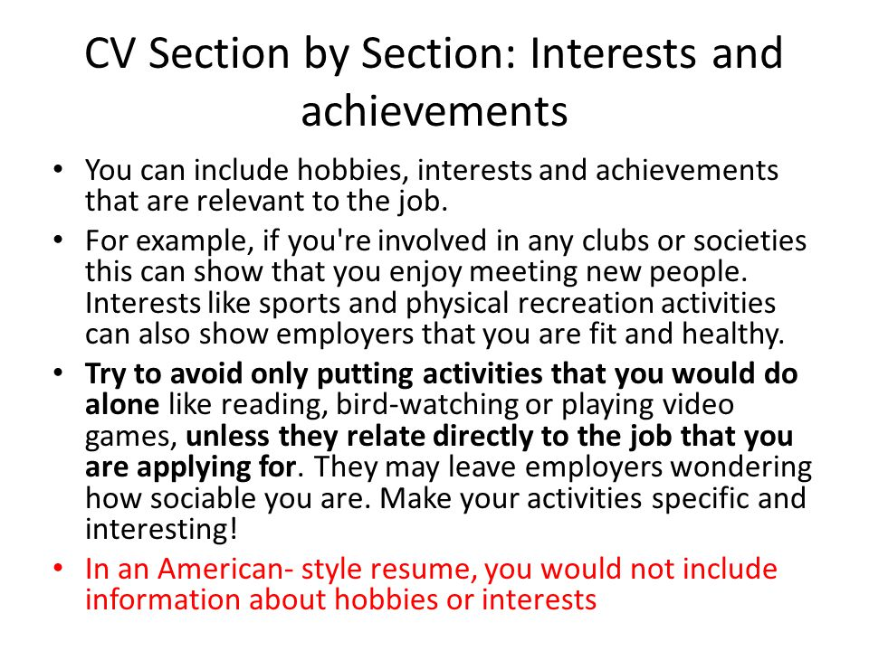 resume hobbies section - Paso.evolist.co