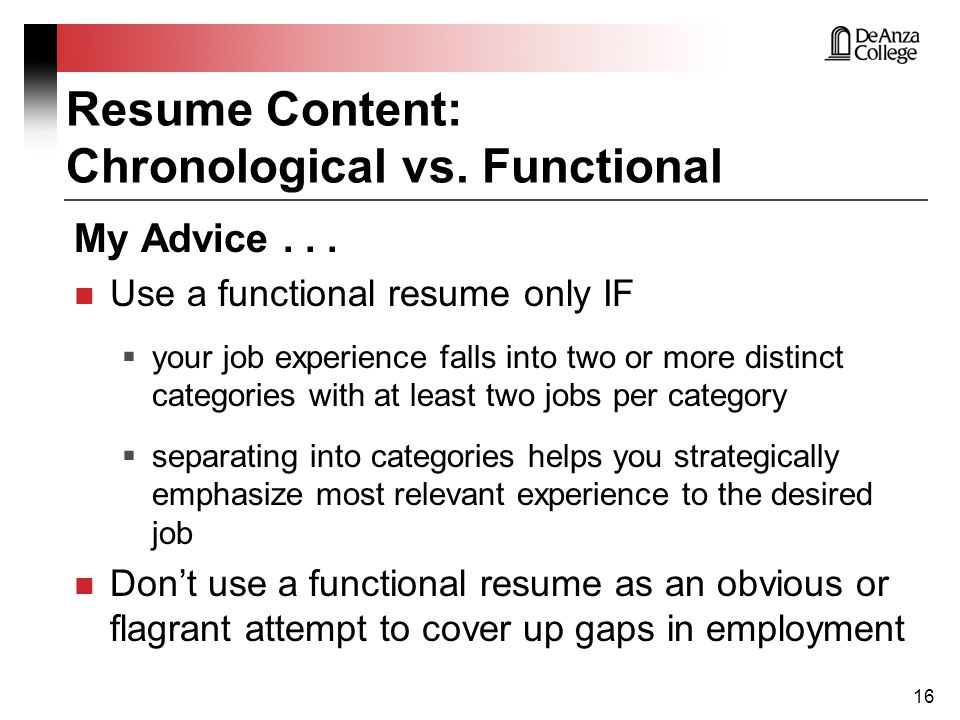 Chronological Vs Functional Resume  When To Use A Functional Resume