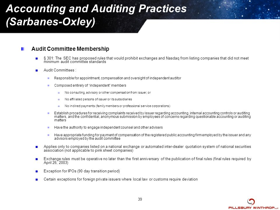 Sarbanes-Oxley Act of 2002 and Other SEC Reforms - ppt download - audit quotation
