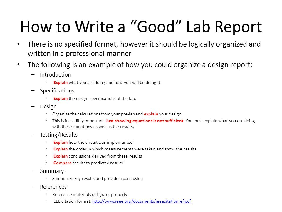 How To Write A Good Lab Report Conclusion