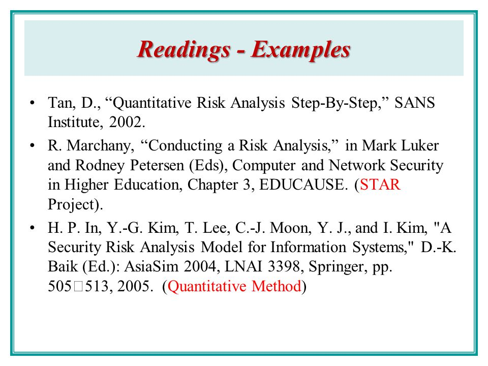 ... Risk Management Chao Hsien Chu, PhD   Ppt Download   Sample Quantitative  Risk Analysis ...