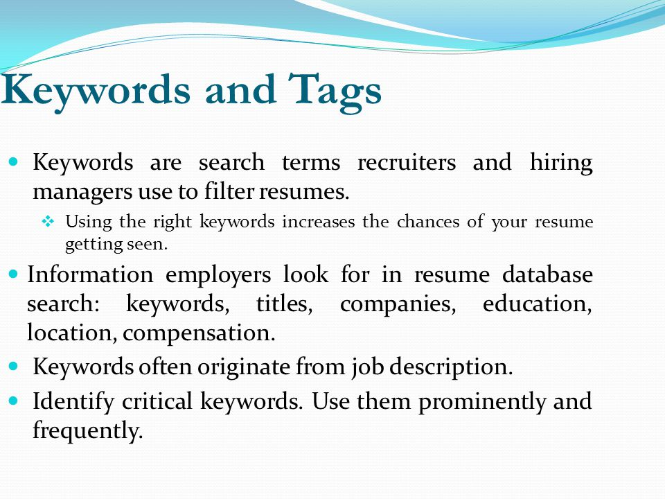 keywords to use on a resume