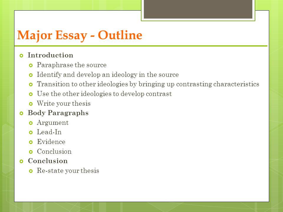 Body Paragraph Of Argumentative Essay