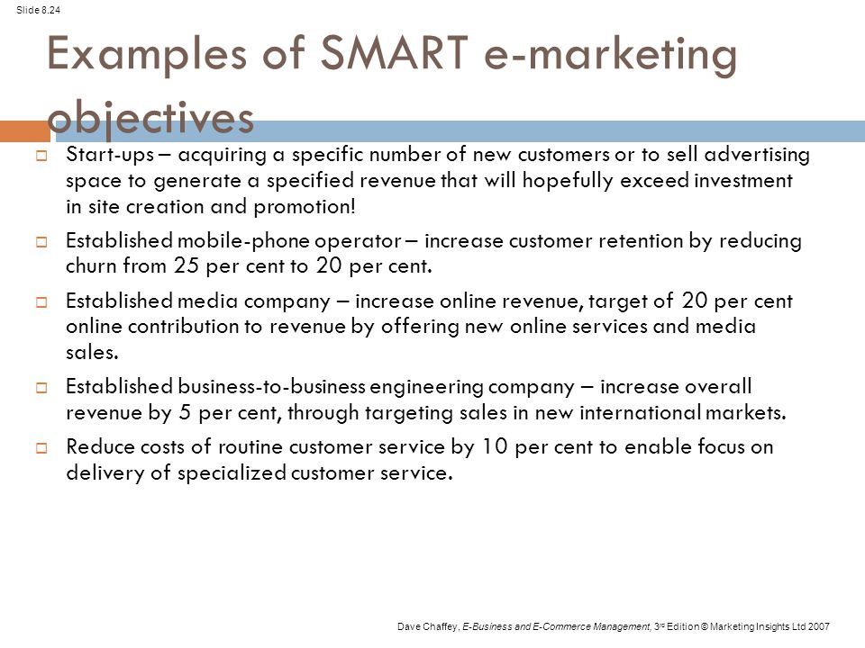 Chapter 8 E-marketing - ppt video online download - marketing objective example