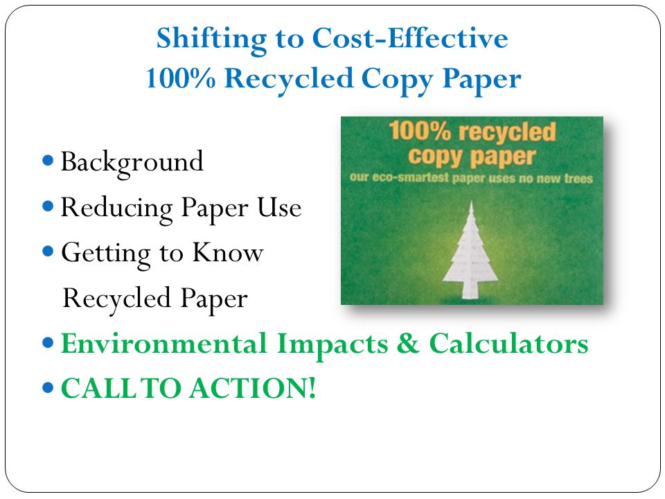 Green Purchasing Leadership 100 Recycled Copy Paper