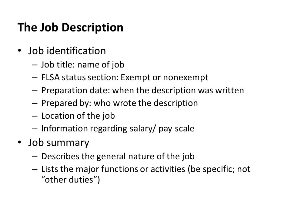 Job Summaries - Fiveoutsiders - job summaries