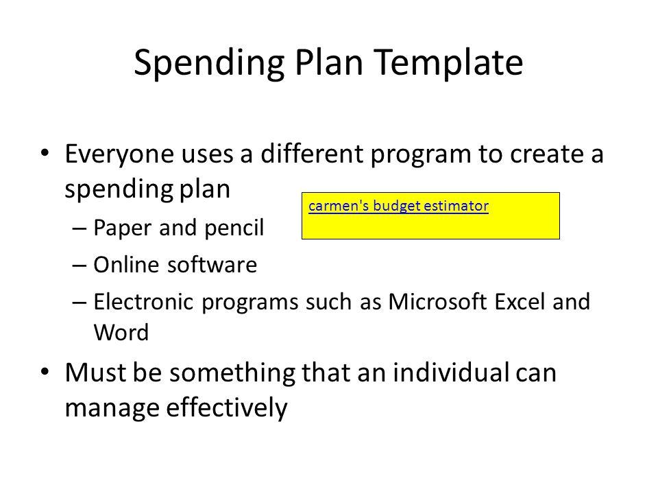 Essential Standard 80 Apply procedures for managing personal - spending plan template
