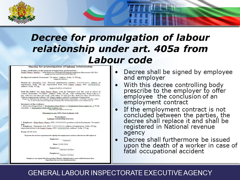 GENERAL LABOUR INSPECTORATE EXECUTIVE AGENCY - ppt download - executive employment contract