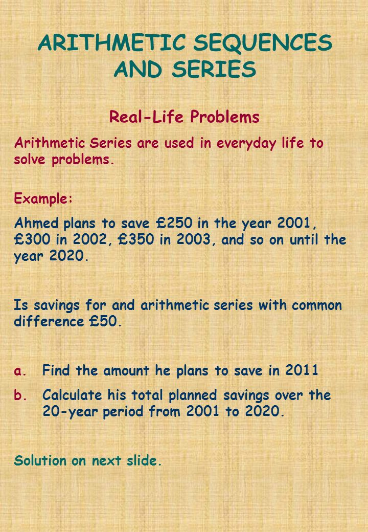 Problem solving involving arithmetic sequence in real life / blog