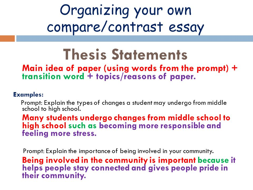 Example Comparison Contrast Essay Thesis Statement - The Comparative