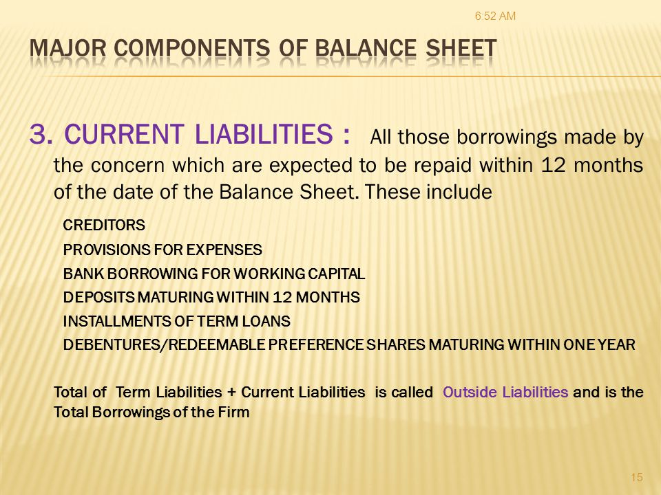 758 AM RATIO ANALYSIS CAIIB \u2013 Financial Management \u2013 MODULE C - components of balance sheet