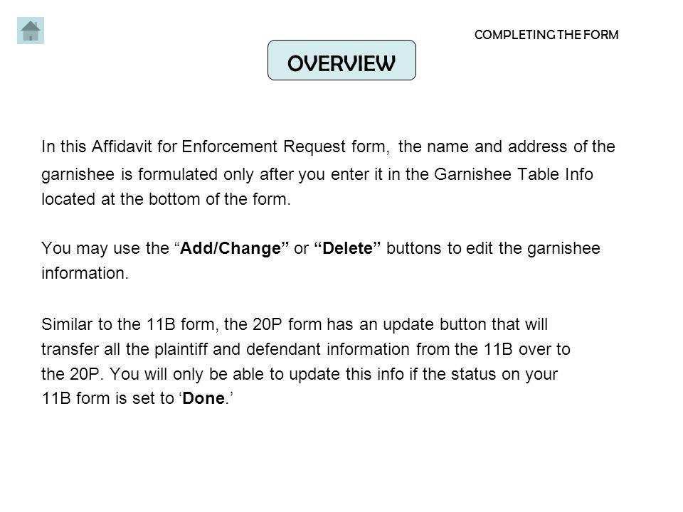 Affidavit for Enforcement Request FORM 20P - ppt video online download - name affidavit form