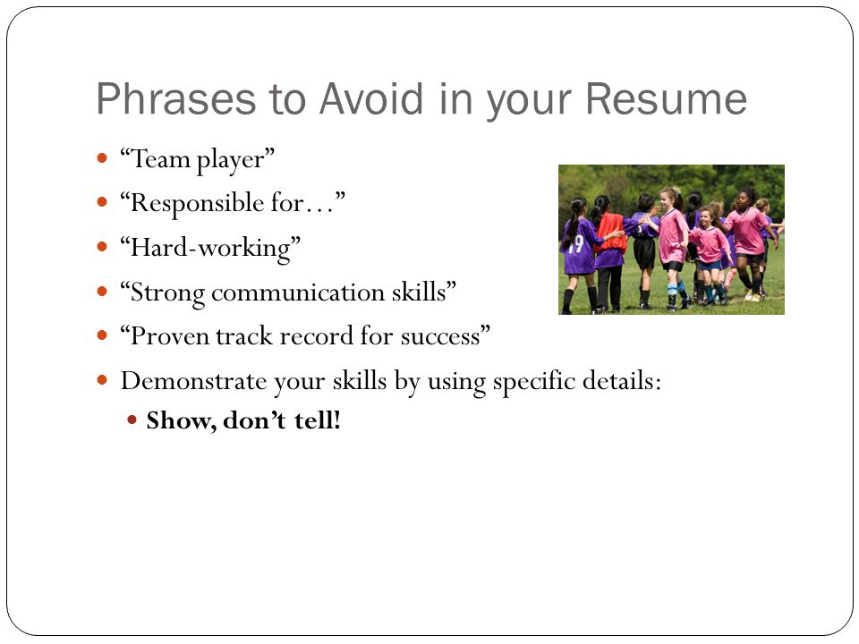words to avoid on resumes