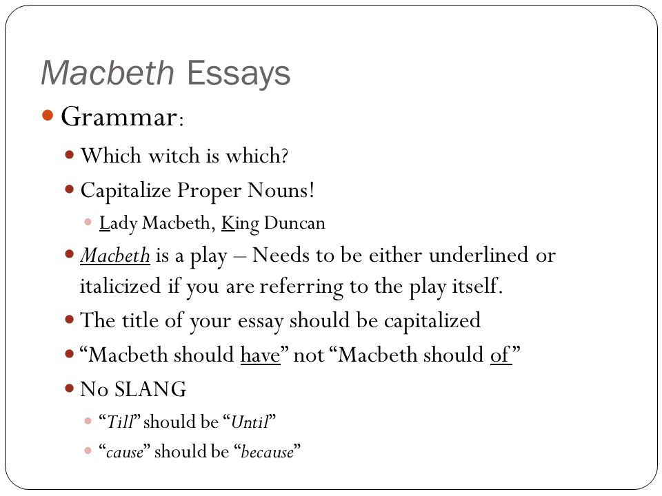 Title for essay about macbeth \u2013 Thesis Pro