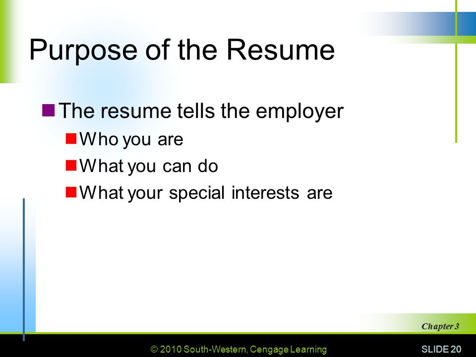 3 Getting the Job 31 Getting an Interview - ppt download - purpose of a resume