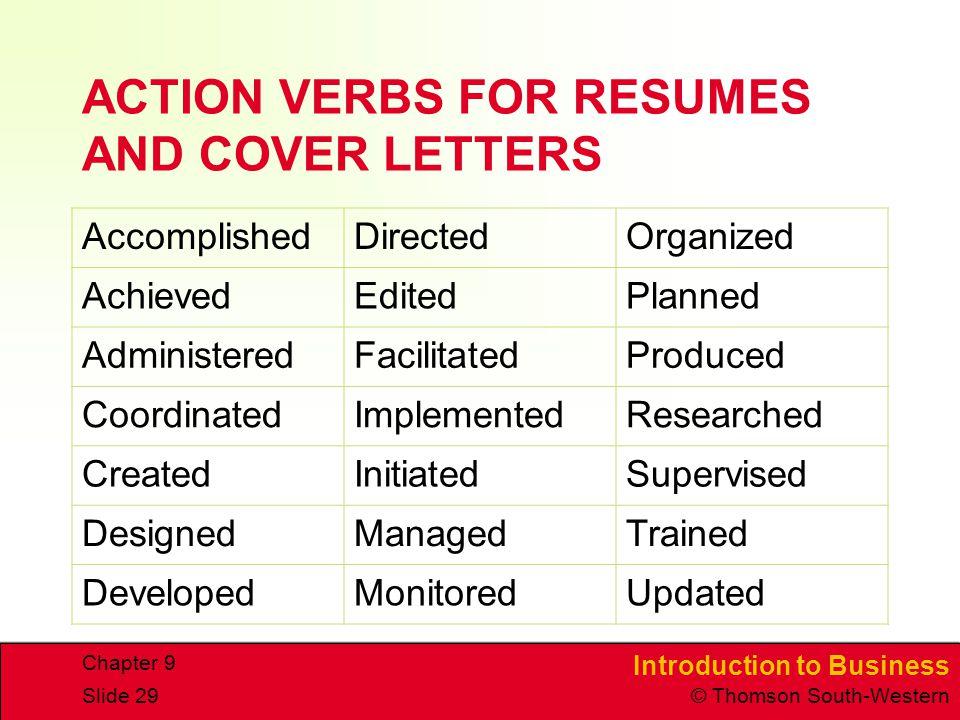 action verbs resumes