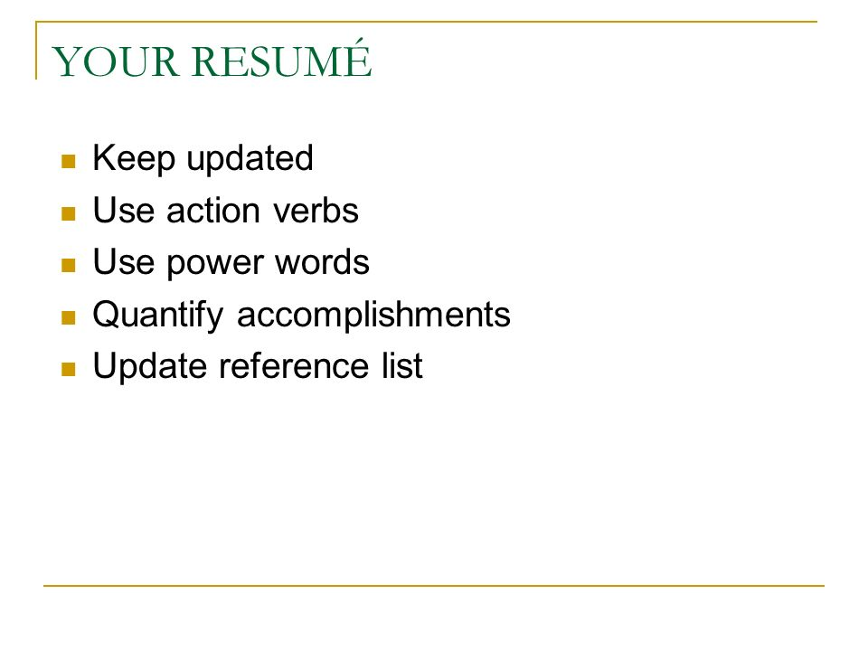 power resume verbs