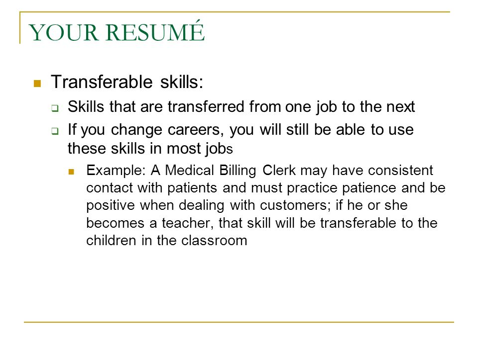Karen Roush, Instructor - ppt download - resume transferable skills