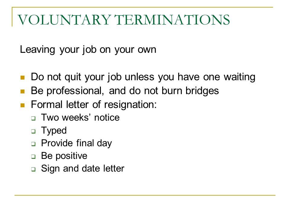 voluntary resignation letter